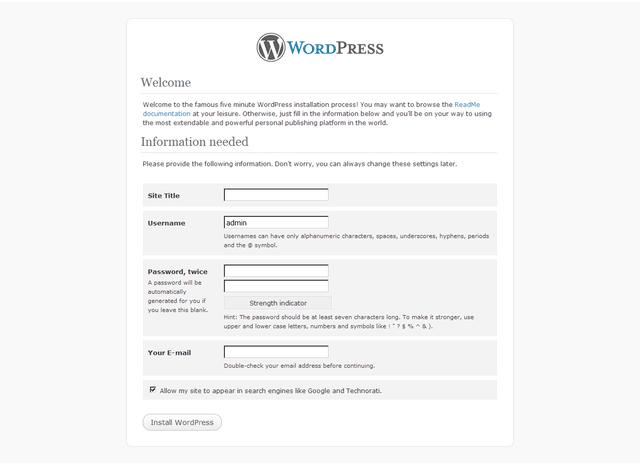 WP installation script